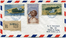 COTE FRANCAISE DES SOMALIS LETTRE RECOMMANDEE DEPART DJIBOUTI 27-1-1953 POUR LES ETATS-UNIS - Côte Française Des Somalis (1894-1967)