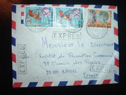 LETTRE EXPRES POUR FRANCE TP PLAN QUINQUENNAL 100F X2 + TP ARBRE DE BRAZZA 75F OBL.19-4-83 BRAZZAVILLE LE BANCONGO - Oblitérés
