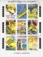 Sao Tome E Principe 1995 Hommage Au Cinema 9v In Sheetlet Used (F3388) - Sao Tome En Principe