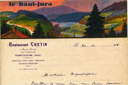 39 : Lettre à Entête De Restaurant Cretin 5 Rue De L´évéché à Saint-Claude En 1938 - 1900 – 1949