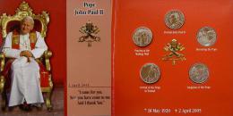 SMOM SOVRANO MILITARE ORDINE DI MALTA 2005 5 MONETE DA 1 LIRA COMMEMORATIVE 18 MAGGIO 1920 2 APRILE 2005 NASCITA PONTIFI - Malte (Ordre De)