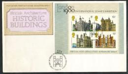 Grossbritannien -  FDC   Mi.Nr.  760- 763  Block 1     - Gestempelt  -  Historische Bauten. - FDC