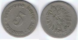 ALEMANIA DEUTSCHES REICH 5 PFENNIG B 1875 - [ 2] 1871-1918 : Imperio Alemán
