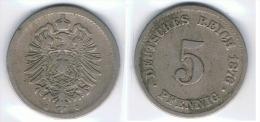 ALEMANIA DEUTSCHES REICH 5 PFENNIG G 1876 - [ 2] 1871-1918 : Imperio Alemán