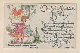 D54731 Postcard Vintage Sixtieth Birthday, Poem, Girl Watering Flowers, Personal To Sandy.  Unused - Birthday