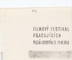 J1595 - Czechoslovakia (1945-79) Control Imprint Stamp Machine (R!): Workers Film Festival; Plzen - Lochotin, 1958 - Cinema