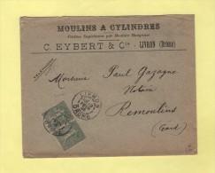 Moulins A Cylindres - Farines - Livron Drome - 18 Fevr 1905 - Marcophilie (Lettres)