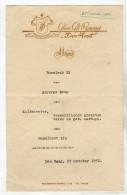 Grand Café Den Hout Bezuidenhoutseweg Menukaart 1952 !! ZELDZAAM Bezuidenhout Den Haag  (Af2) - Menus