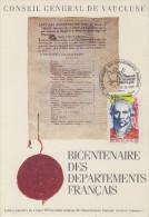 Carte  Bicentenaire  De  La  Création  Du  Département  De  VAUCLUSE     AVIGNON    1990 - Révolution Française