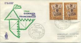 ITALIA - FDC VENETIA 1964 - GIORNATA DEL FRANCOBOLLO - VIAGGIATA PER BERGAMO - 6. 1946-.. Repubblica