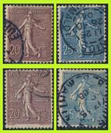 N° 131 (2 NUANCES) + 132  (2 NUANCES) SEMEUSE FOND LIGNÉ 1903 - OBLITÉRÉS B / TB - DONT BELE OBLITÉRATION DE NICE - - 1903-60 Semeuse Lignée