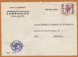 Enveloppe Brief Cover Administration Communale De Loupoigne - Brieven En Documenten