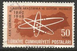 Turkey 1963 - Mi. 1863 O, Map Of Turkey And Atom Symbol - 1921-... Republik