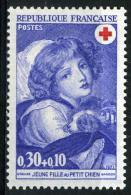 FRANCE 1700**  30c + 10c  Outremer  Croix Rouge 1971  Jeune Fille Au Petit Chien - France