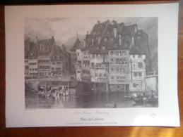 """Gravure Du Vieux Strasbourg  """"Place Du Corbeau"""" De Birket Foster - Prints & Engravings"""