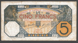 AFRIQUE OCCIDENTALE (French West Africa)  :  5 Francs - 1929  - P58g - Sn 048 4669 - Altri – Africa
