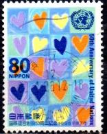 JAPAN 1995 50th Anniversaries Of U.N.O. - 80y Patchwortk Hearts (Tomoko Suzuki)  FU - 1989-... Empereur Akihito (Ere Heisei)