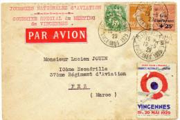 Meeting De Vincennes 19 Et 20 Mai 1929 N° 250 + Compléments + Vignette Du Meeting Envoyée Au Maroc. Rare - Poste Aérienne