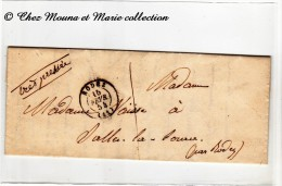 1854 - MARQUE POSTALE - RODEZ SALLES LA SOURCE - CAD TYPE 15 - MENTION TRES PRESSEE - MME NAISSE - Marcophilie (Lettres)