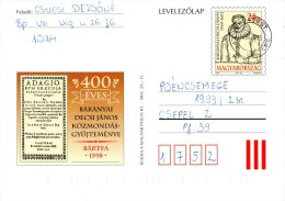 HONGRIE. Entier Postal De 1998 Ayant Circulé. Baranyai Decsi Janos. - Schrijvers