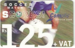 Mauritius - Cellplus Soccer Match Football Scores GSM Refill 30-06-2004, 125MRs, Used