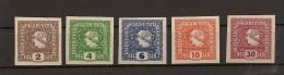 Austria/�sterreich 1916 Postfrisch/MNH/**  ANK 212 - 216 Zeitungsmarken Merkurkopf