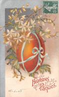 ¤¤  -    Heureuses Pâques  -   Oeuf Avec Un Ruban , Fleurs    -   ¤¤ - Pâques