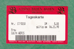 Casino Spielbank Baden Baden - Member Card 1 Day - 1998 - 2 scans - Baden Baden - Germany - Allemagne - Europe