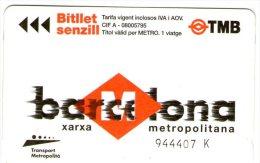 BARCELONA - Biglietto Metropolitana - Biglietti Di Trasporto