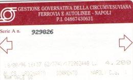 CIRCUMVESUVIANA Di NAPOLI   Biglietto Sorrento-Napoli  1996 - Biglietti Di Trasporto
