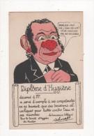 Carte Postale Ancienne HUMOUR Diplome D ' HYGIENE Lutte Contre Microbes Dans L'eau Nez Rouge EAU De VIE - Humour
