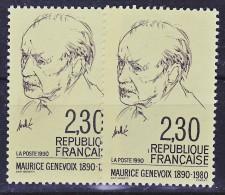 France 2671 Variétés Impression Décalée Haut Bas Maurice Genevoix  Neuf ** TB MNH Sin Charnela - Abarten Und Kuriositäten