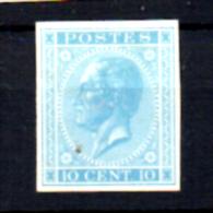 Léopold 1er, 10c Bleu Clair, Type Non Adopté,   N°17, - 1865-1866 Profil Gauche