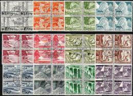 Schweiz Suisse 1949: Technique & Paysages Zu 297-308 Mi 529-540 Yv 481-492 In Blocks Mit O ZÜRICH (Zu CHF 105.00) - Usados