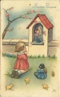BUONA PASQUA  Bambina Prega Capitello Con Madonna  Bambola  Pulcini  Pesco In Fiore  Sign Gi/bi - Pasqua