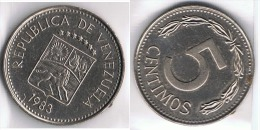 VENEZUELA 5 CENTAVOS  BOLIVAR  1983 - Francia