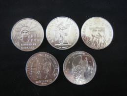 100 Francs ( Cinq Piéces ) ,, Charlemagne, Descartes, Droits De L´homme, Liberté, Jean Monnet - France