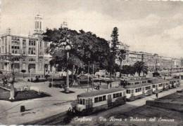 Sardegna-cagliari-cagliari Via Roma E Palazzo Del Comune Veduta Tram Al Capolinea - Cagliari