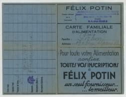 Carte Familiale D'alimention 1949-52. Félix Potin Du Champs-de-Mars (Paris). - Vieux Papiers