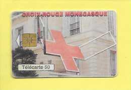 50U TELECARTE MONACO CROIX ROUGE  MONEGASQUE ( 50é Anniversaire ) USED - - Monaco