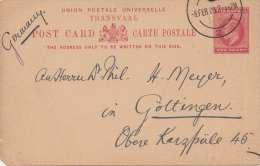 TRANSVAAL 1909 - 1 Penny Ganzsache Auf Pk Von Pretoria > Göttingen - Sonstige - Afrika