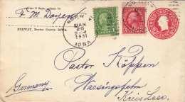 USA 1931 - 2 C Ganzsache + 1+2 C Zusatzfr.auf LP-Brief Von Norway (IOWA) Nach Germany - Briefmarken