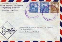 VENEZUELA 1946 - 3 Fach Frankierung Auf LP-Brief Von Caracas Nach Milan Italien, Sonderstempel Primer Vuzlo Venezu ... - Venezuela