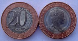 ANGOLA 20 KWANZAS 2014 MONETA BIMETALLICA RAINHA NJINGA A MBANDE - Angola