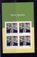 CANADA 2015.# 2806a,   NELSON MANDELA.  Pane Of 4 With Right Side Of Cover - Pages De Carnets