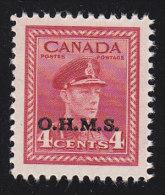 """CANADA - Scott # O4 George VI """"O.H.M.S. Overprinted"""" (*) / Mint H Stamp - Service"""