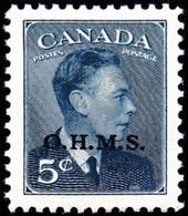 """CANADA - Scott # O15A George VI """"O.H.M.S. Overprinted"""" (*) / Mint H Stamp - Service"""