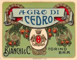 """01556 """"AGRO DI CEDRO - BIANCHI & C. - TORINO/BRA""""  ETICHETTA ORIGINALE, ANNI '30 - ORIGINAL LABEL , YEARS' 30. - Frutta E Verdura"""