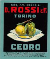 """01558 """"CEDRO - D. ROSSI & C. TORINO""""  ETICHETTA ORIGINALE, ANNI '30 - ORIGINAL LABEL , YEARS' 30. - Frutta E Verdura"""