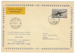 Suisse /Schweiz/Svizzera/Switzerland/ Poste Aérienne / Vol Commémoratif  Zurich-Genève Du 20.09.1944 - Luftpost
